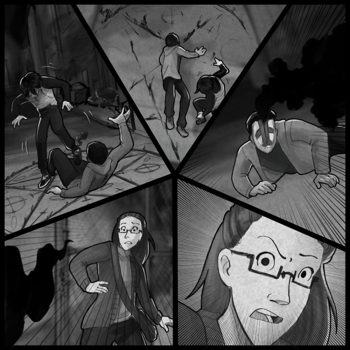 So... You may have noticed this page can be read a few different ways. And I did that on purpose, and I HOPE it comes off that way, and not like I just messed up. See, as long as you read the upper left panel first, everything else could theoretically be said to be happening at the same time. So that's why I did that. Also, five panels -> pentagrams -> wooOOoooOoOOoOoohH