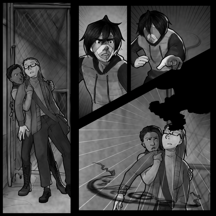 I haven't drawn Hugh in so long I forgot how his hair worked... I think this turned out okay, though. Also Orev/Hugh's face in the second panel just turned out great. I love the faces Orev makes. I already like drawing Hugh's face but Orev always makes better expressions.