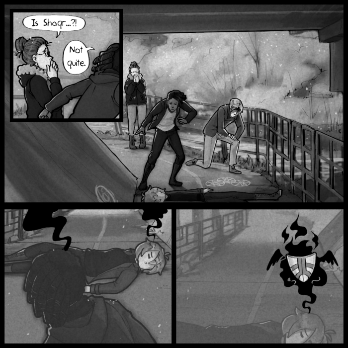 Ugh, had to draw the background for the last two panels from scratch. No tracing photographs or anything. THE HORROR.